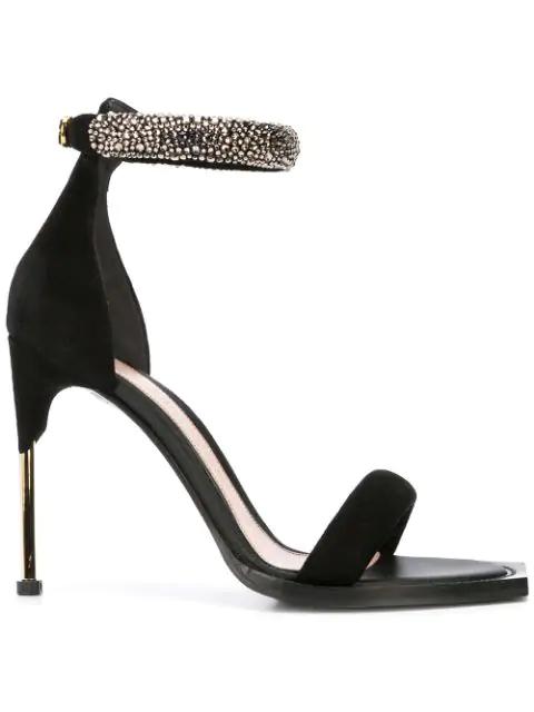 Alexander Mcqueen Pin Heel Embellished Bangle Sandal In Black/Gold