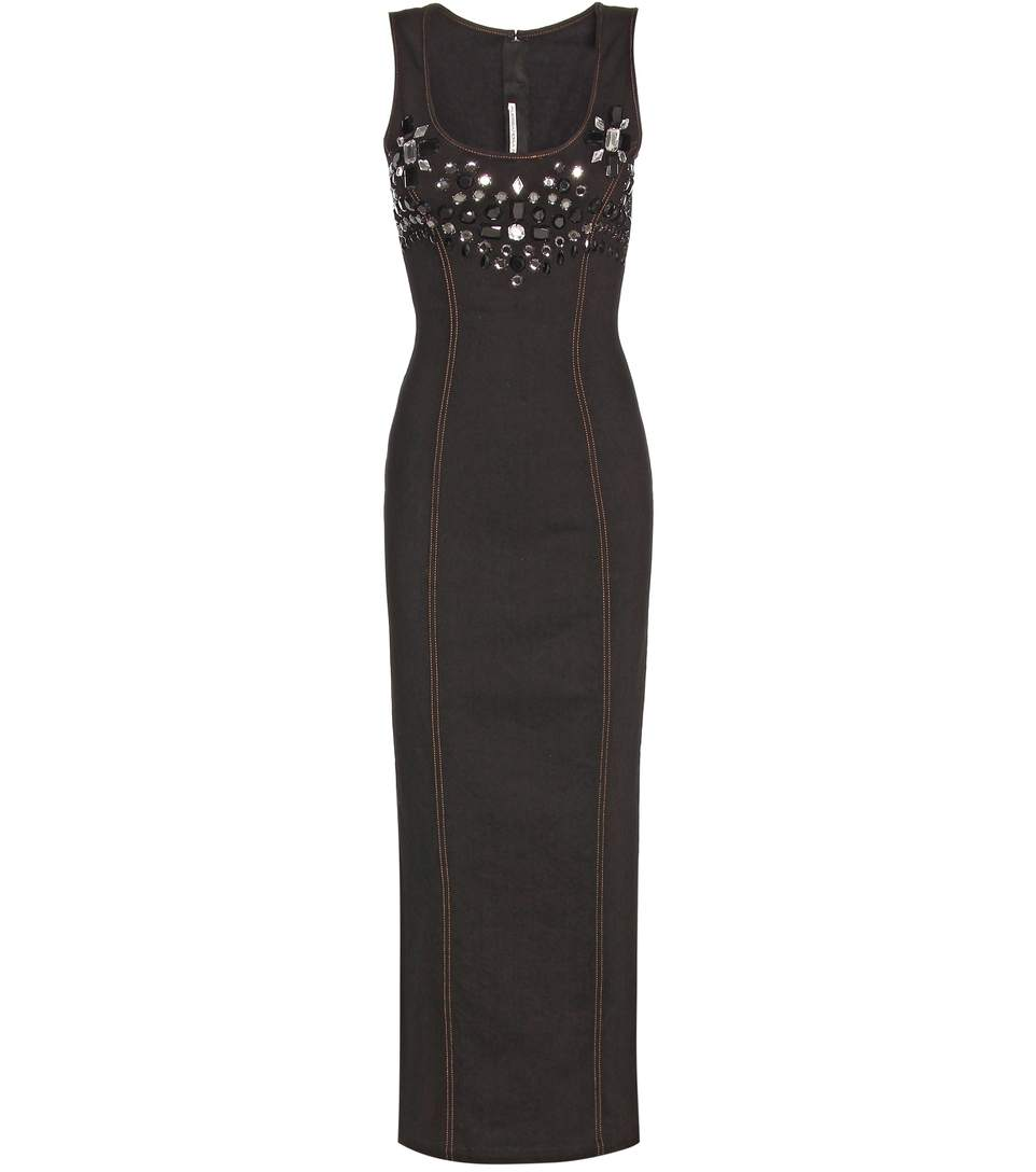 Alessandra Rich Embellished Cotton Twill Midi Dress In Black