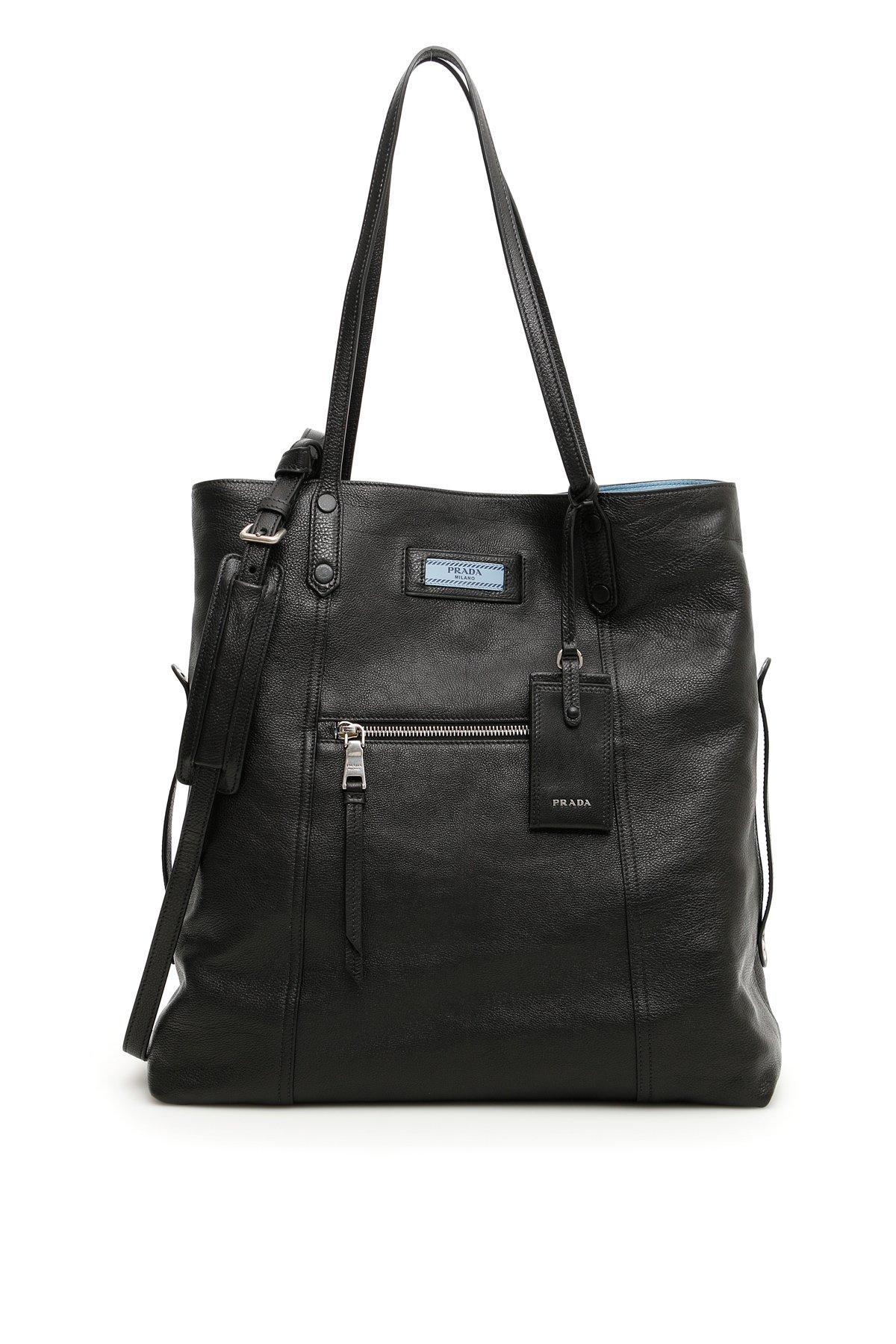 9845f6fb974d Prada Etiquette Large Leather Tote In Black   ModeSens