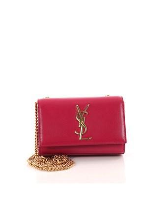 Saint Laurent Pre-owned: Classic Monogram Crossbody Bag Grainy Patent Small In Pink