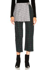 542f00de25 Sandy Liang Layered Checked Cotton-Canvas Straight-Leg Pants In Emerald