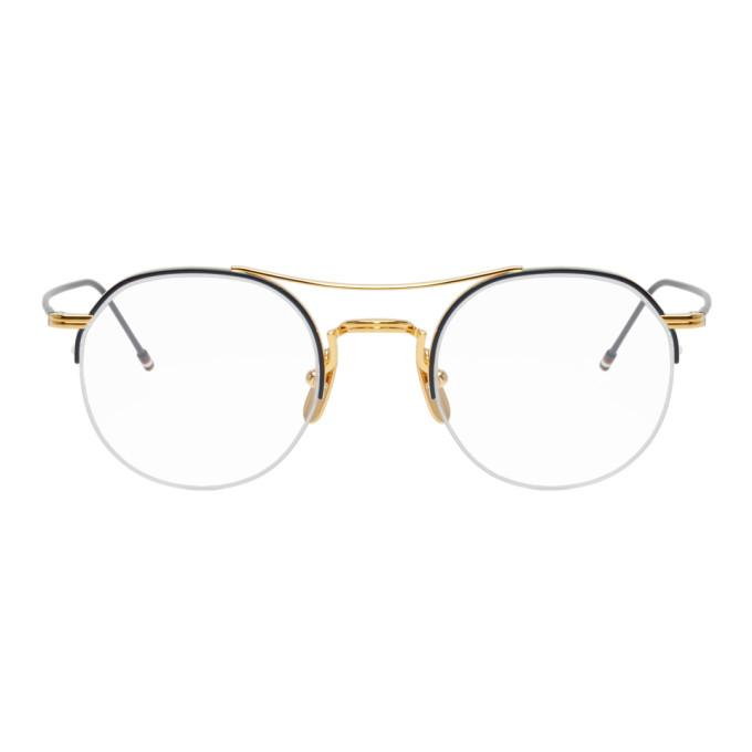 be80d55e3b33 Thom Browne Navy And Gold Tb-903 Glasses In Gold Navy