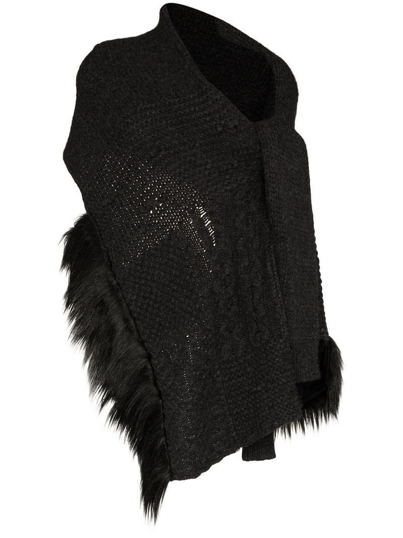 Rocha Cardigan Faux Wrap Trim Blend Grey Simone Wool Scarf Fur KJFc1l