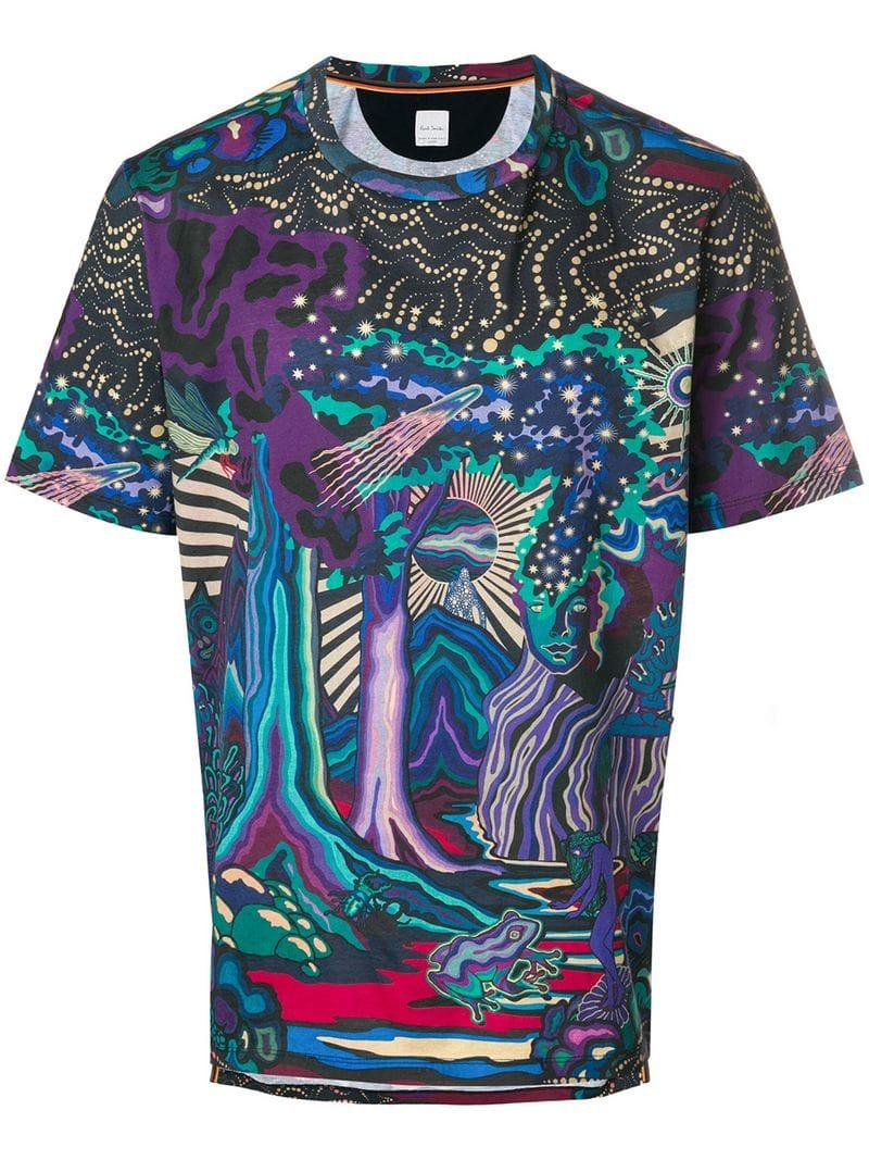Paul Smith New Age Print T In Pink & Purple