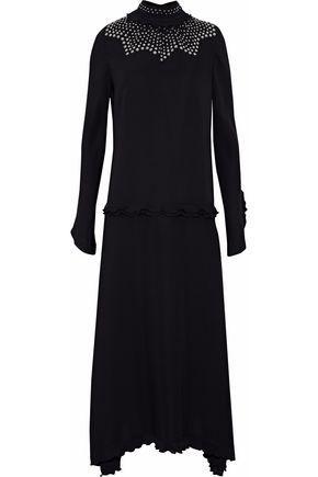 Derek Lam Woman Ruffle-Trimmed Studded Silk Crepe De Chine Midi Dress Black