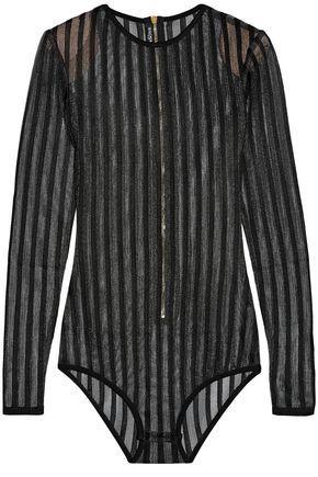 Balmain Woman Striped Open-Knit Bodysuit Black