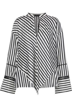 Derek Lam Woman Layered Open Knit-Trimmed Striped Silk Crepe De Chine Blouse Black