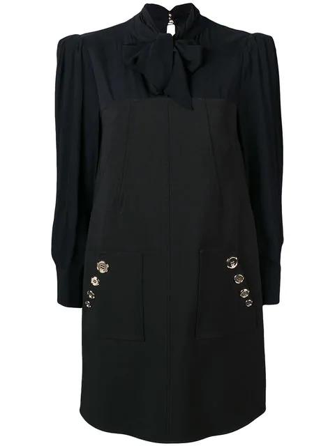 Elisabetta Franchi Pussy Bow Shift Dress In Black