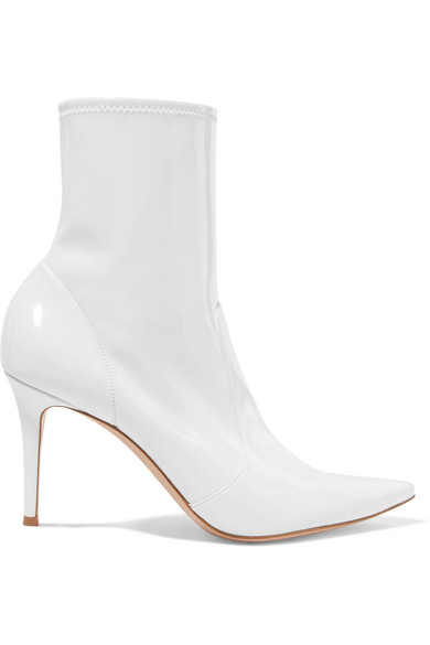 Gianvito Rossi 85 Patent-Leather Ankle Boots In White