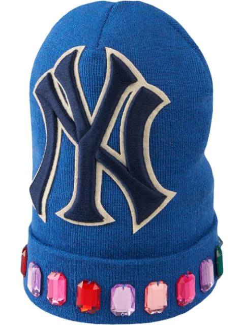 e381dfb0e Gucci Men's Jewel-Trim New York Yankees-Applique Beanie Hat In Blue ...