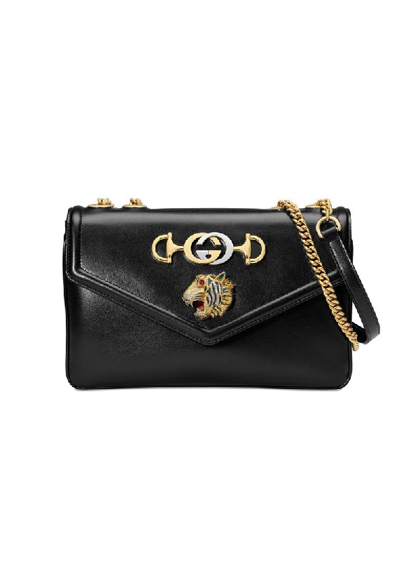1bde61921f7 Gucci Rajah Medium Shoulder Bag In Black