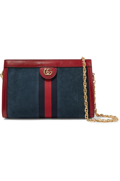 Gucci Ophidia Small Suede Chain Shoulder Bag, Blue/Red