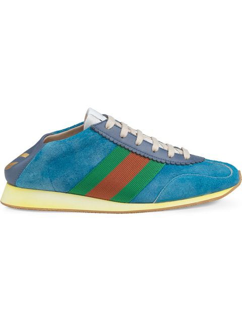 Gucci Rocket Suede Low-Top Trainers In Blue