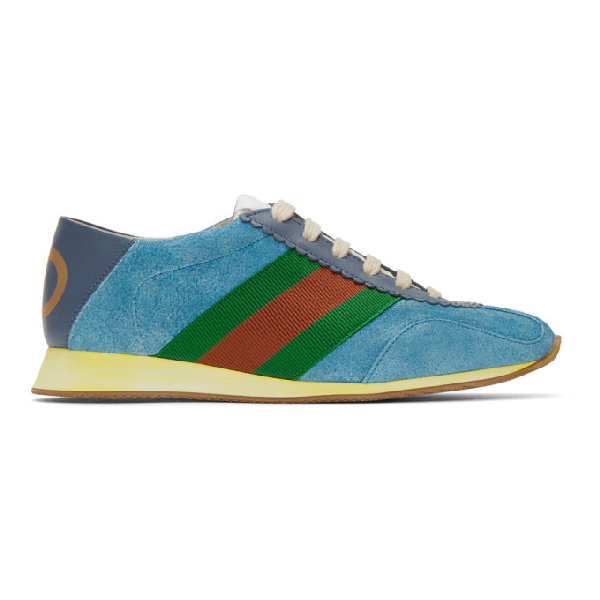 Gucci Rocket Suede Low-top Trainers In 4361 Blue