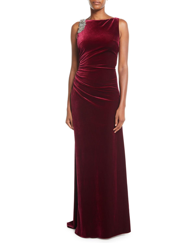 e87b635c89d Rickie Freeman For Teri Jon Velvet Sleeveless Low-Back Evening Gown W   Embellishments In