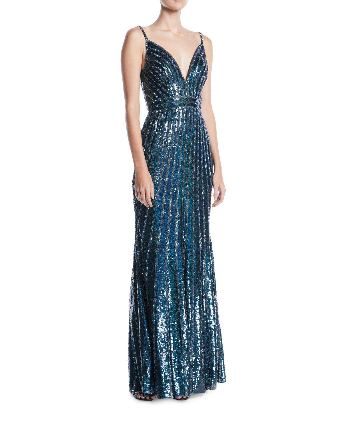 177c7a514187 Jovani V-Neck Sleeveless Striped-Sequin Slip Evening Gown In Black/Green