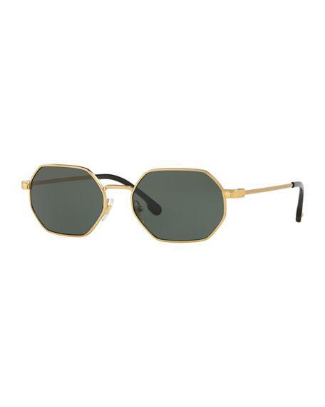 21e8444d564 Versace Octagon Metal Sunglasses In Gold Frames Green Lenses