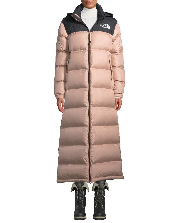 baca3e6f5 Nuptse Long Duster Puffer Coat W/ Packable Hood in Light Pink