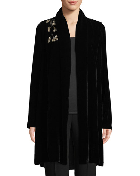 6e6daf831 Coley Floral-Embroidered Velvet Jacket in Black