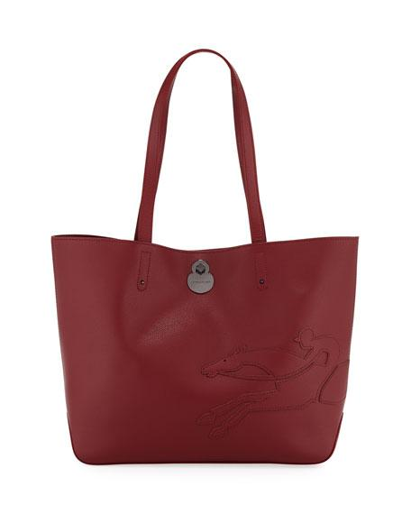 9505960bf94 Longchamp Shop-It Medium Leather Tote Bag In Garnet Red | ModeSens