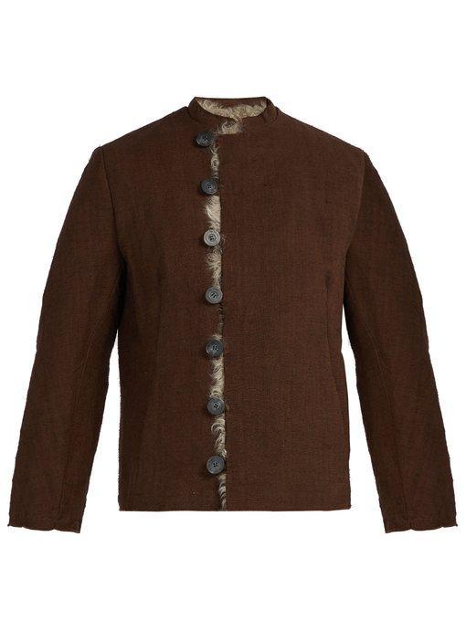 By Walid Baldwin Shearling-Lined Linen Jacket In Brown