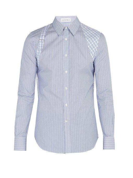 7dc513e57207 Alexander Mcqueen Brad Pitt Harness Striped Cotton-Poplin Shirt In White