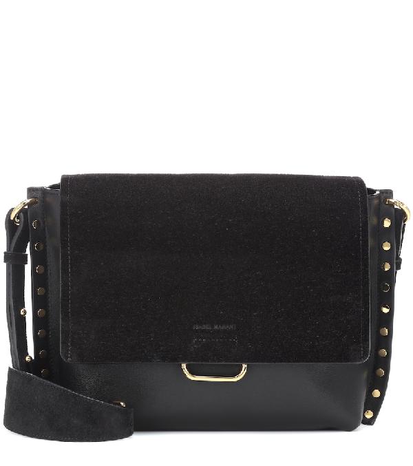 Isabel Marant Asli Large Leather And Suede Shoulder Bag In Black