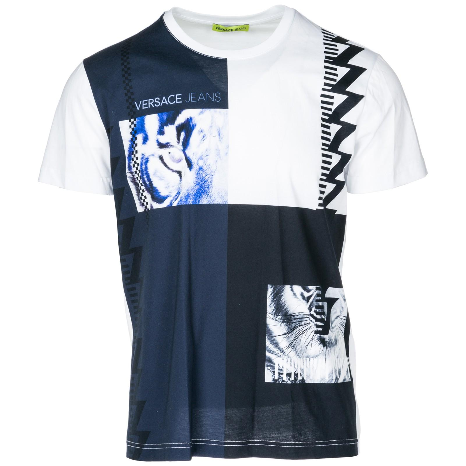7ed22ca0 Versace Jeans Men's Short Sleeve T-Shirt Crew Neckline Jumper In White