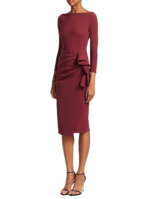 912a5c13e7a17 Chiara Boni La Petite Robe Zelma Side Ruffle Midi Dress In Mahogany ...