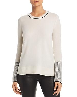 0f8bb89336e C By Bloomingdale's Rib-Knit Detail Cashmere Sweater - 100% Exclusive in  Ivory/Black
