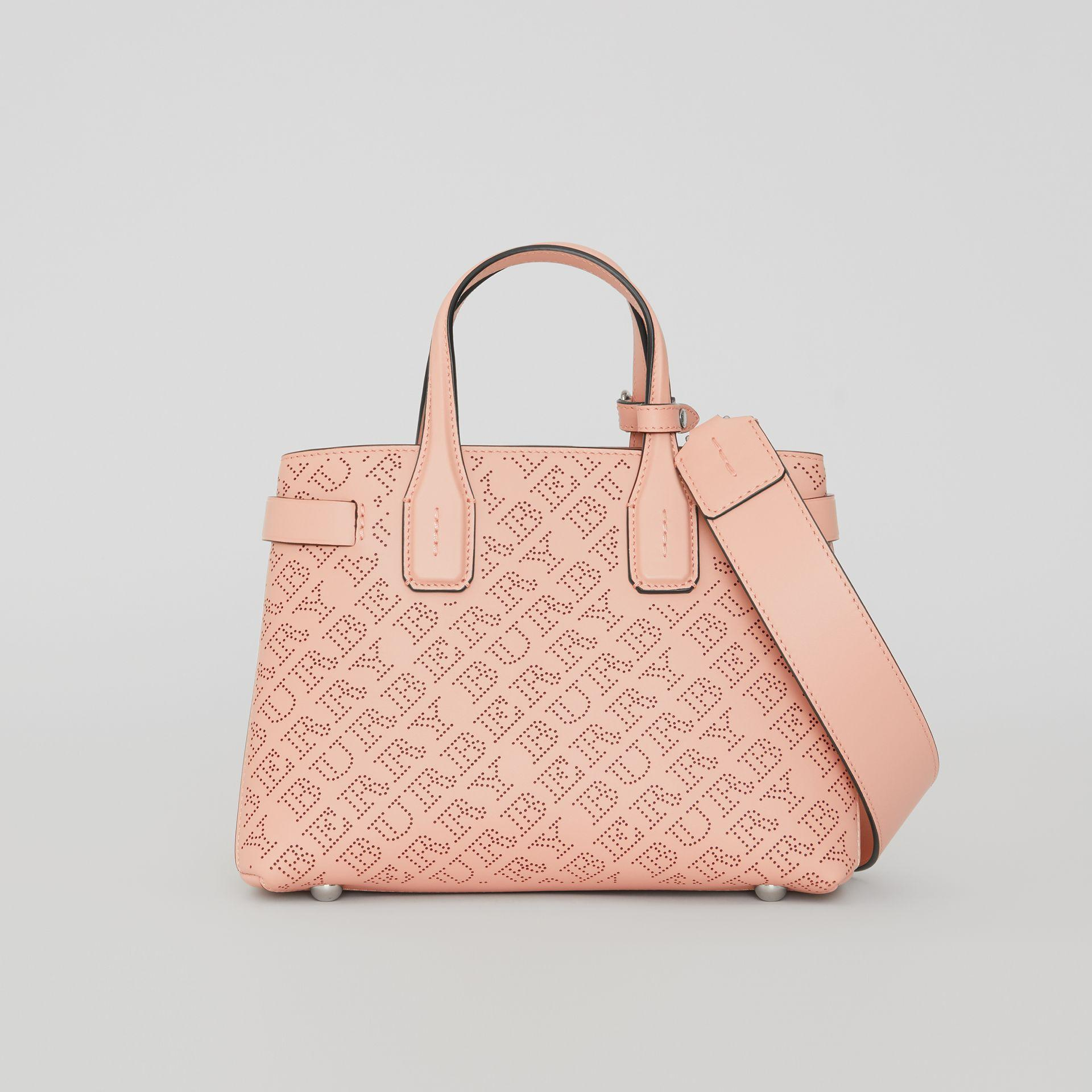 Burberry The Small Banner In Perforated Logo Leather In Pale Fawn Pink 10450d307f4b7