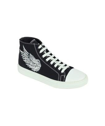 b6a50ee0079 Roberto Cavalli Mens Black Embroidered High Top Sneakers in Blue