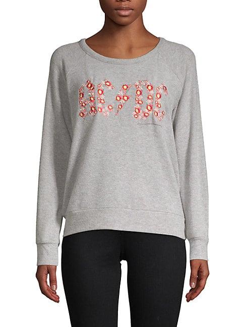 Chaser Embroidered Raglan-Sleeve Pullover In Heather Grey