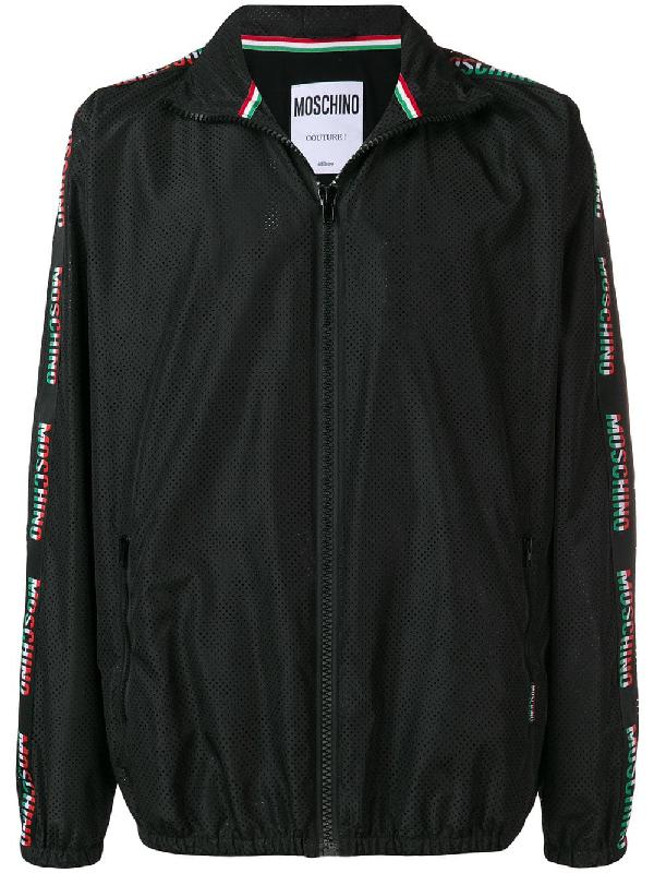Moschino Italy Logo Band Nylon Windbreaker In Black