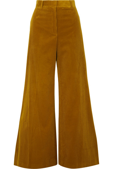 hot-selling fashion lovely design get new Bianca Wide-Leg Cotton-Corduroy Trousers in Mustard