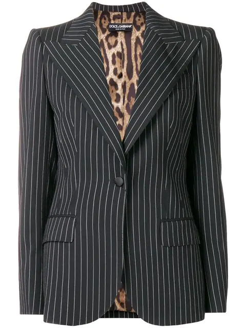 Dolce & Gabbana Pinstripe Blazer In Black