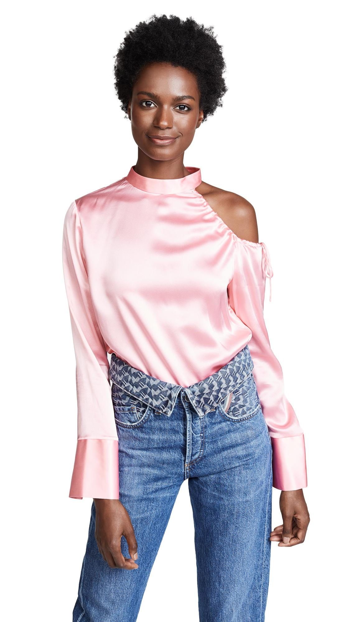 edition10 cold shoulder blouse in blushing bride modesens