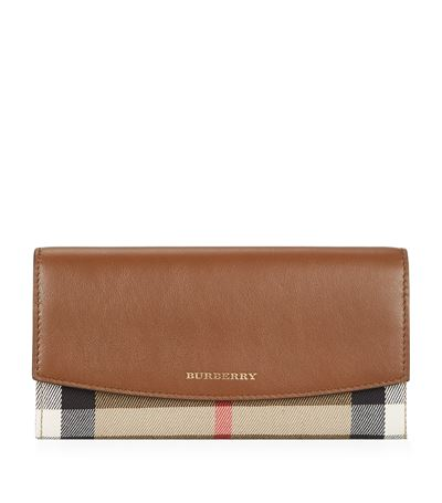 Burberry Porter House Check And Leather Continental Wallet In Tan