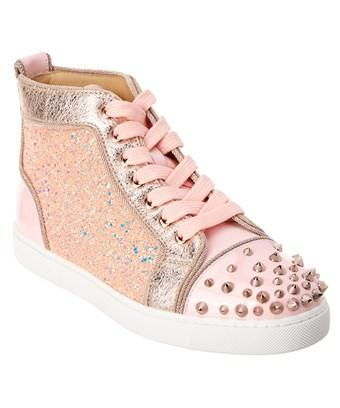 size 40 a0970 a6f5a Christian Louboutin Lou Degra Spikes Leather Sneaker in Pink