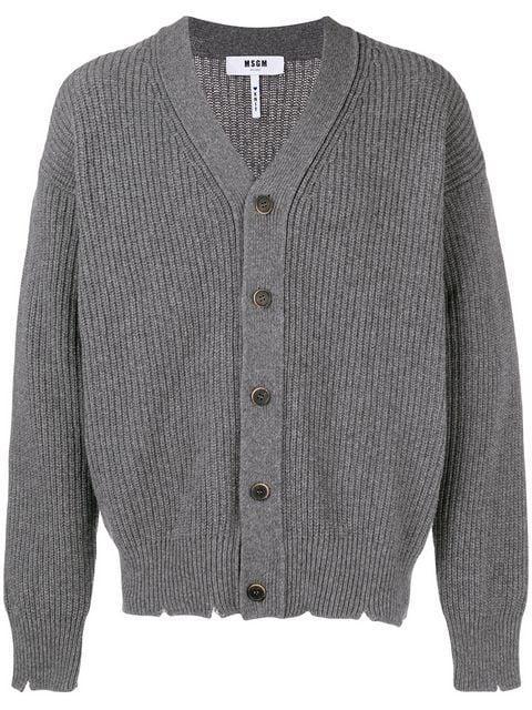 Msgm Distressed Knit Cardigan - Grey