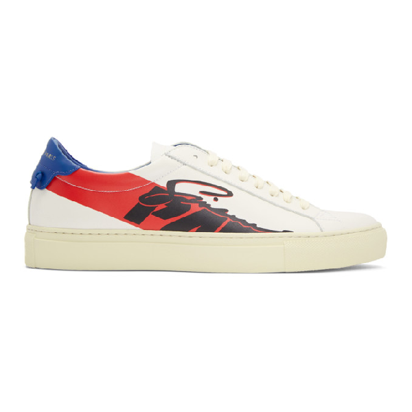 Givenchy Urban Street Printed Leather Sneakers - White In 982Bl/Rd/Wh