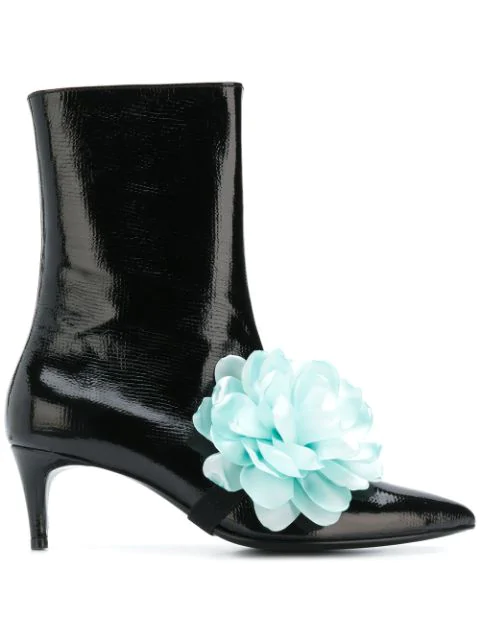Leandra Medine Flower Ankle Boots - Black