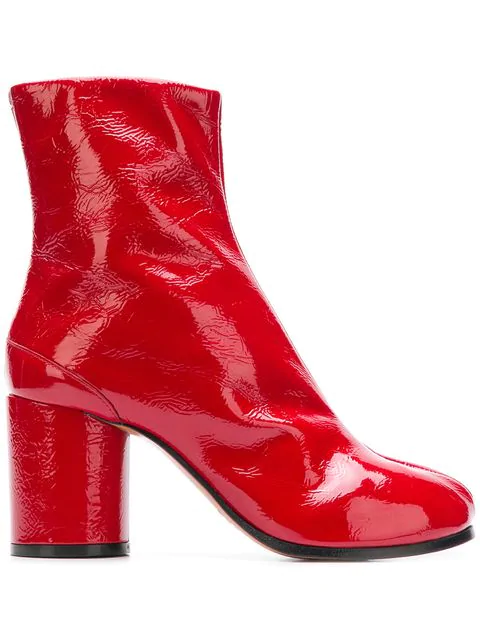 71112f1c7477 Maison Margiela Red Patent Leather Tabi Ankle Boots | ModeSens