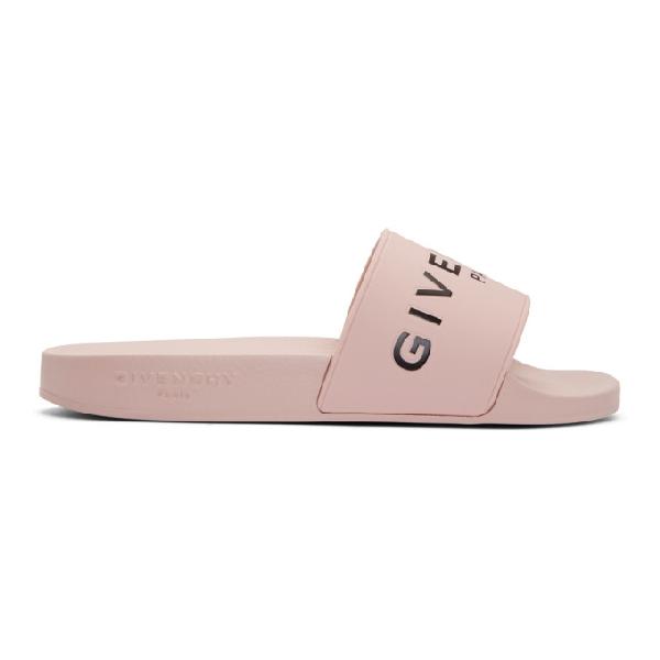 Givenchy Logo Rubber Sandal Slide, Light Pink