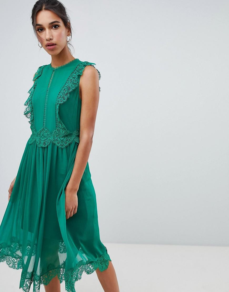 d25383e6b0c880 Ted Baker Porrla Frill Lace Midi Dress - Green