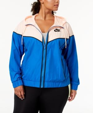 68227a05743 Nike Plus Size Sportswear Windrunner Jacket In Signal Blue Crimson Black
