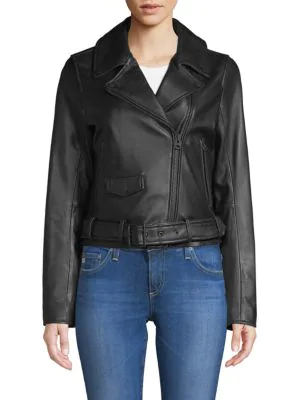 7 For All Mankind Leather Moto Jacket In Black