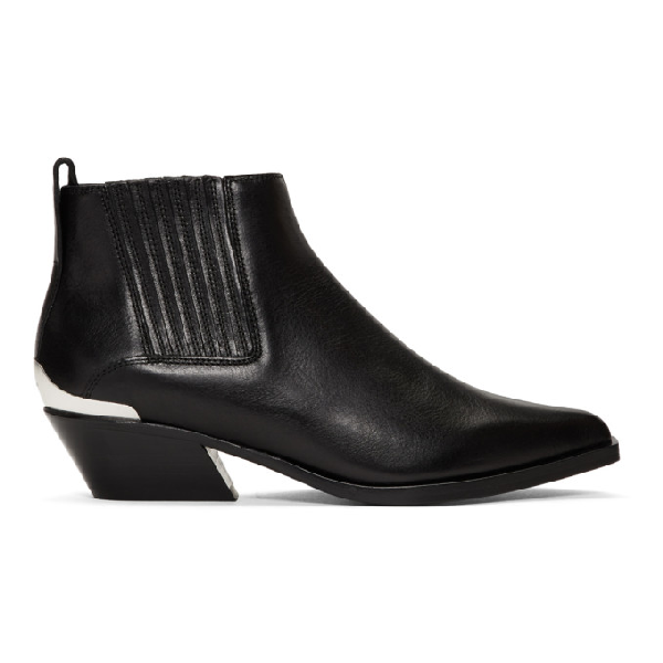 Rag & Bone Westin Metal-Trimmed Leather Ankle Boots In Black