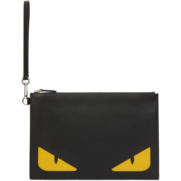 Fendi Bag Bugs Black Leather Clutch In F0wad Black