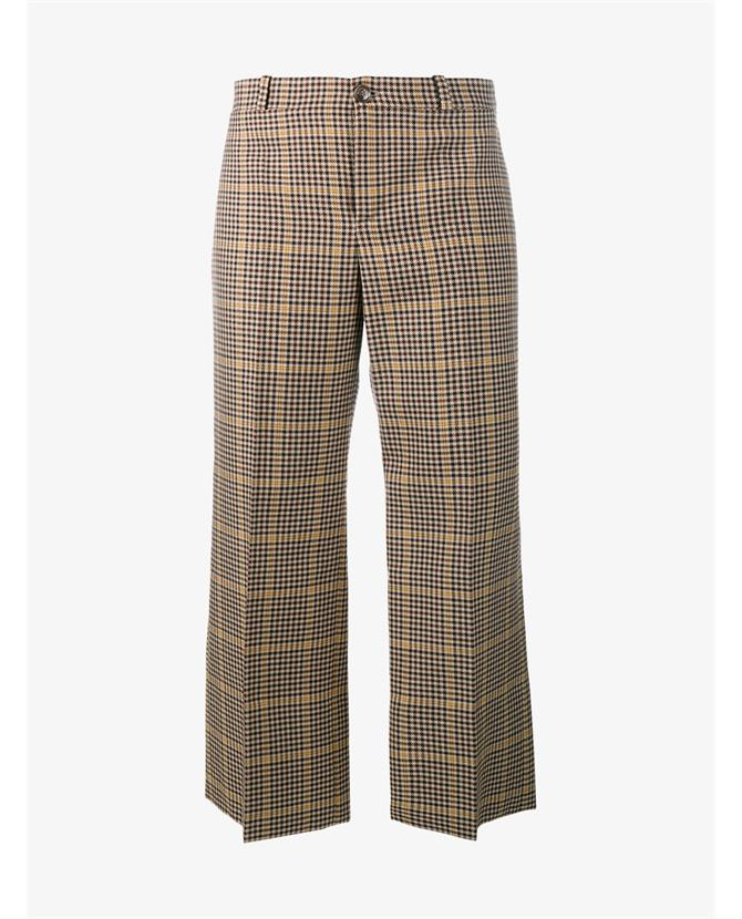 e569bd9fe80491 Balenciaga Cropped Rockabilly Check Print Trousers In Beige
